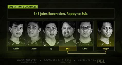 dota  news  joins execration  substitute