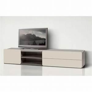 Meuble Laqué Beige : meuble tv bas 180 cm 2pir beige meuble tv des achat ~ Premium-room.com Idées de Décoration