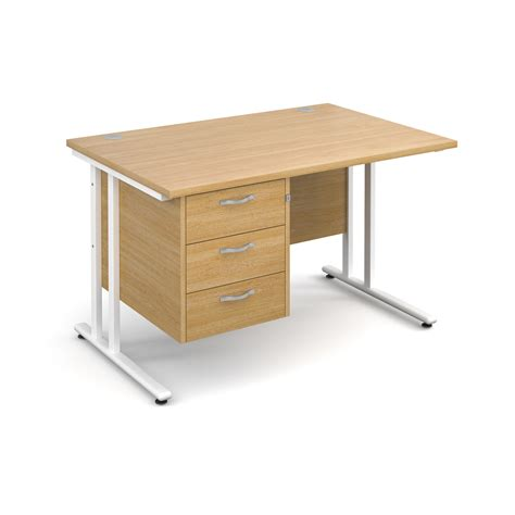 straight desk with drawers maestro 25 wl straight desk with 3 drawer pedestal 1200mm