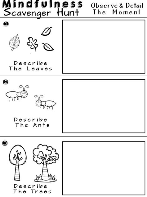 Mindfulness Scavenger Hunt Worksheets For Relaxation And Calm  Counselling, Social Work And