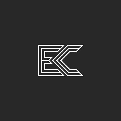 combination  letters logo    monogram initials ec  ce mark simple style lines shape