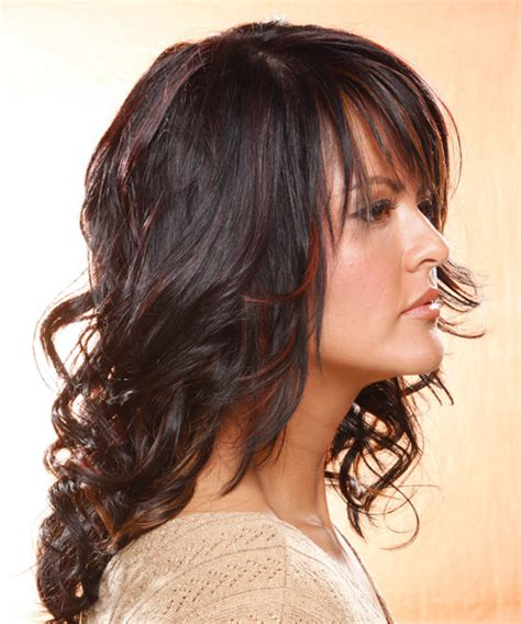 long wavy casual hairstyle  layered bangs dark plum