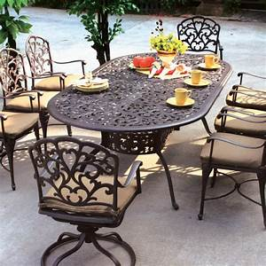 Fire pit dining table set patio designs for small spaces for Elegant oval fire patios