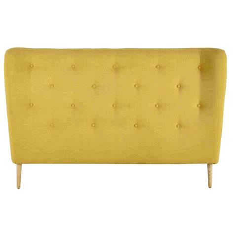 tete de lit bureau tête de lit 140 capitonnée en tissu jaune iceberg