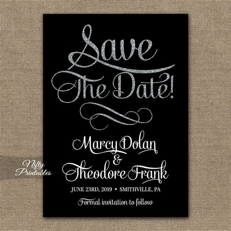 Save The Date Black Silver Nifty Printables