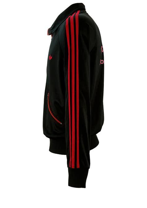 vintage  adidas black track jacket  red stripes