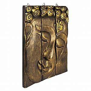 Gold tone buddha face nirvana spirit panel hand carved