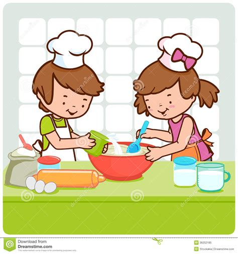 la cuisine jeu de fille enfants faisant cuire dans la cuisine illustration de