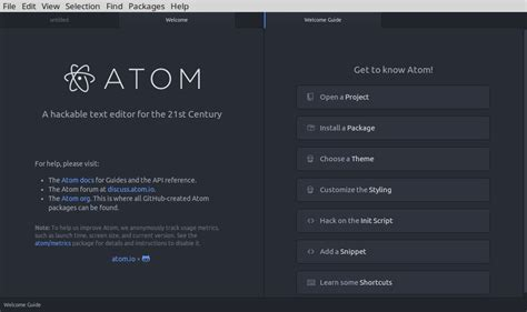 atom a hackable text and source code editor for linux