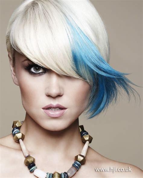 platinum blonde bob  bright blue flash hair raising