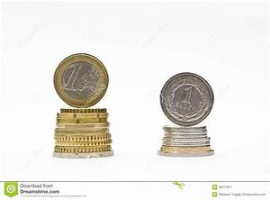 Gold Rate Growth Chart Stack Of Money Euro And Zloty Coins Currency Rate