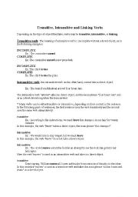 Transitive Verb Worksheets For Grade 5  Transitive Intransitive Verbsverbs Worksheets Action
