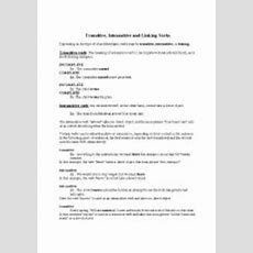 English Worksheets Transitive And Intransitive Verbs