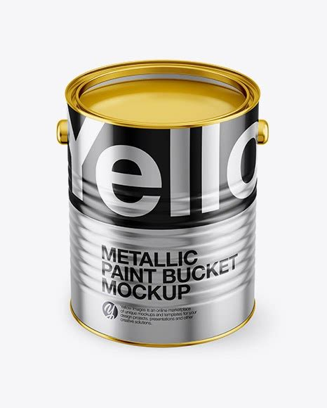 Paint bucket mockup set paint bucket mockup set 2020195 psd. Opened Metallic Paint Bucket Mockup - Front View (High ...