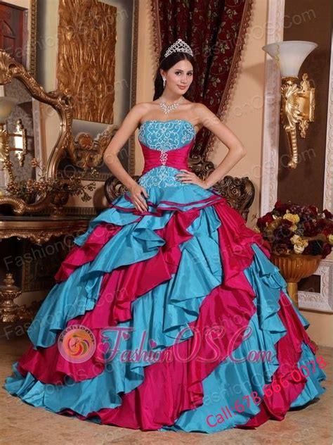 discount aqua blue  red quinceanera dress strapless