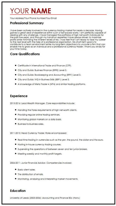 Professional Cv Exles by Professional Cv Sle Myperfectcv
