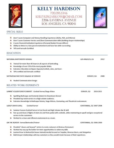 resume template for bartender http www resumecareer