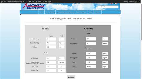 Swimming Pool Dehumidifier Calculator