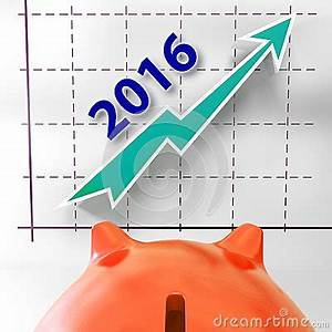 Graph 2016 Shows Forecast Of Rising Sales Stock Image ...