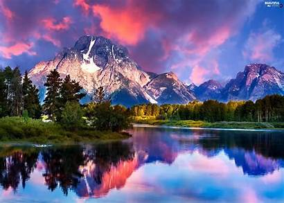 River Mountain Mountains Forest Nature Snow Landscape