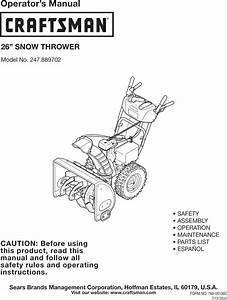 Craftsman 247889702 User Manual 26 Snow Thrower Manuals