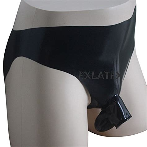 EXLATEX Mens Latex Rubber Lingerie Panties Shorts with