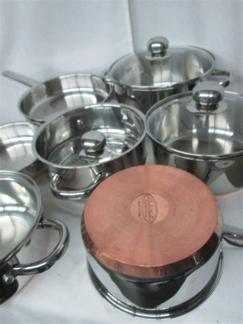 chefs mark  pc stainless steel cookware set  copper base  store returns