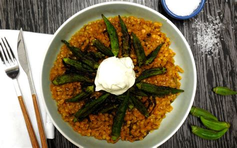 Fried Onion And Okra Dhal  Urban Direct