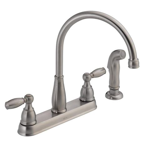 standard faucets kitchen delta foundations 2 handle standard kitchen faucet with