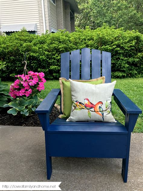 spray painted adirondack chair of family home