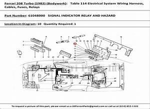 Ferrari Part 61048000 Signal Indicator Relay And Hazard In