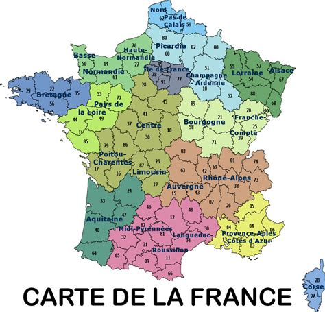 Carte De Et Region Et Departement by Carte De Avec R 233 Gions Et Grandes Villes The Best Cart