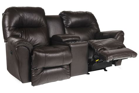 Leather Reclining Loveseat With Center Console by Bodie Leather Power Rocker Reclining Loveseat W Console