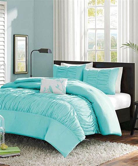 pretty light blue ruffle comforter set home pinterest