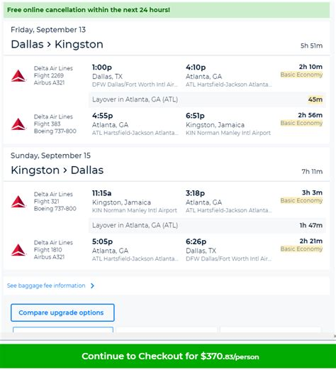 cheap flights dallas tofrom kingston jamaica  rt delta