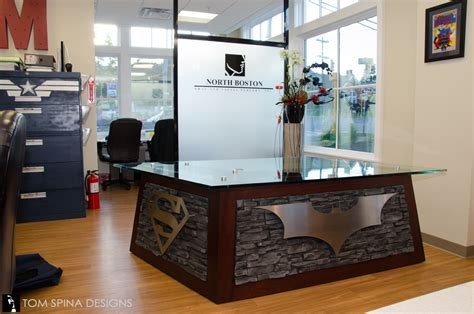 desk decoration themes in office superhero desk themed reception at oral surgeon office