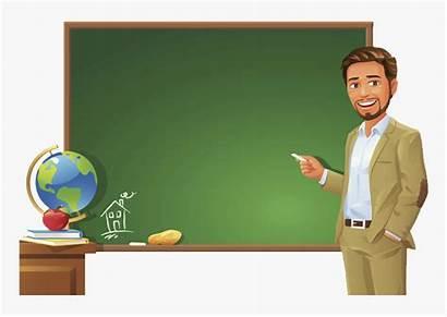 Teacher Clipart Student Standing Blackboard Podium Kindpng