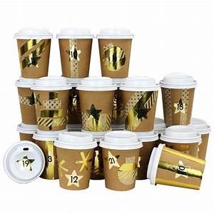 Adventskalender To Go Basteln : diy adventskalender kaffee becher zum selber basteln und bef llen mit goldenem washi tape ~ Orissabook.com Haus und Dekorationen