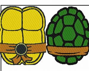2 patterns ninja turtle shells front back embroidery for Ninja turtle shell template