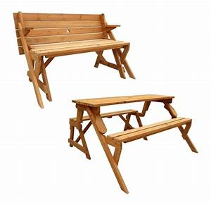 Leisure Season Folding Picnic Table Into Bench, Solid Wood