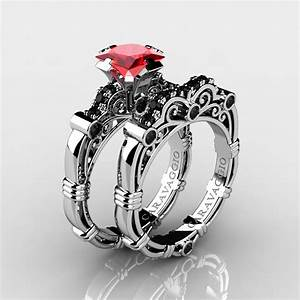 art masters caravaggio 14k white gold 125 ct princess With ruby and black diamond wedding rings