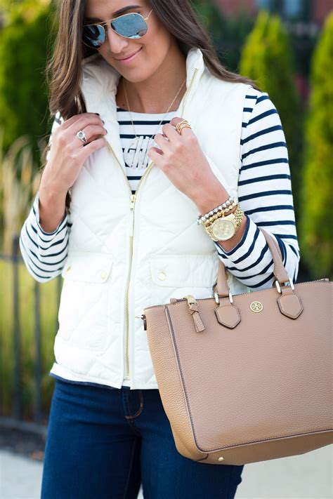 Ivory Quilted Vest Stripes A Southern Drawl