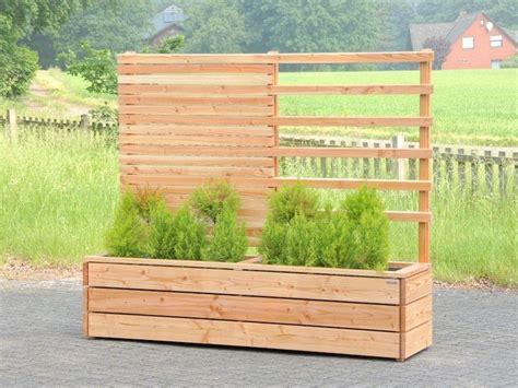 Sichtschutz + Rankgitter Mit Pflanzkasten Holz