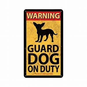 Warning Guard Dog On Duty vv Cute funny metal sign