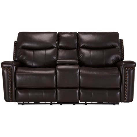 microfiber reclining sofa with console city furniture wallace dark brown microfiber power