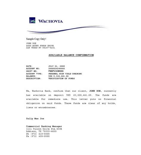proof  funds letter templates template lab
