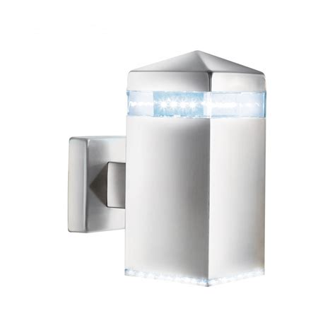 searchlight 7205 outdoor led wall light satin silver