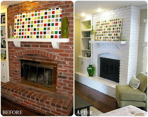 painted white brick fireplace fall home improvement idea freshening up your fireplace