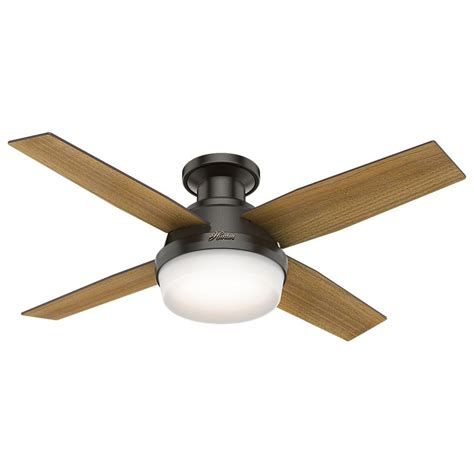 hunter universal ceiling fan hunter dempsey 44 in low profile led indoor noble bronze