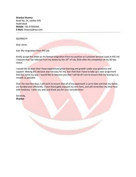 resignation sample letter format  letter format